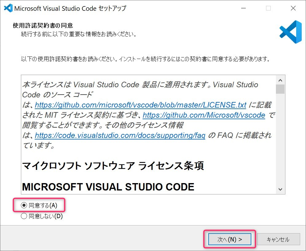 VSCode installer process step1