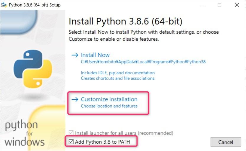 setup screen how to install windows python step1