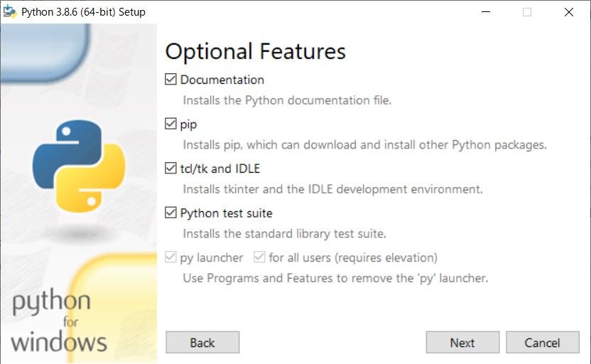 setup screen how to install windows python step2