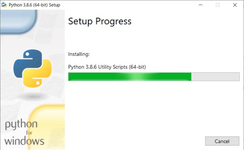 setup screen progress in windows python