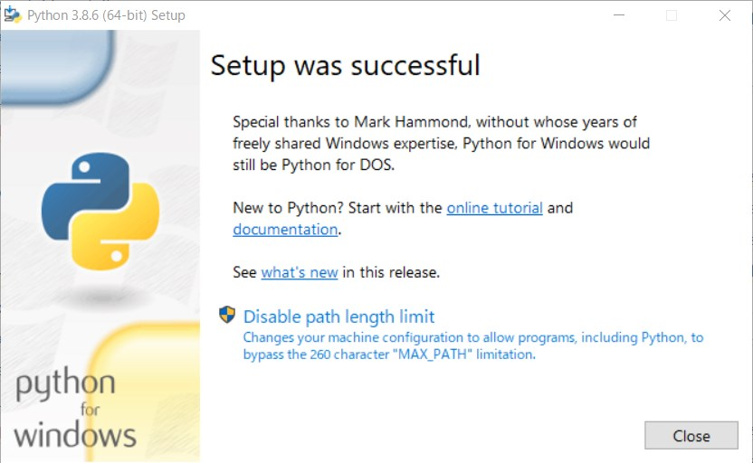setup successful in python for windows