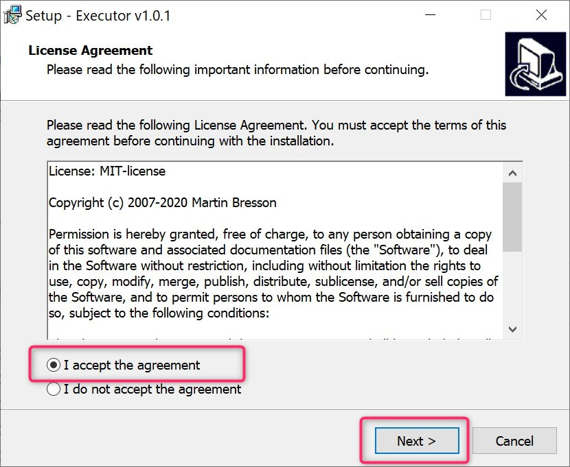 accept agreement in executor install