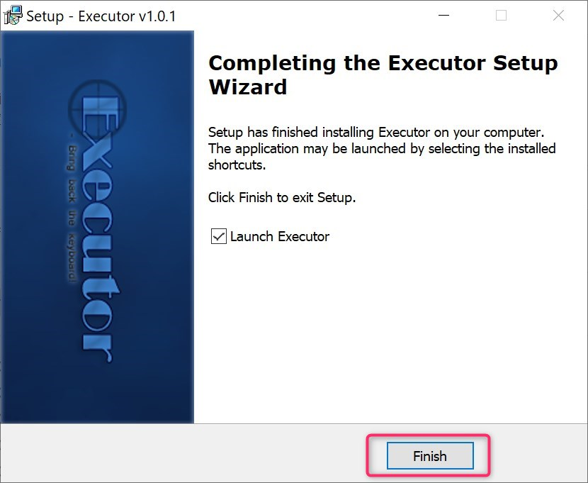 finish setup wizard in executor install