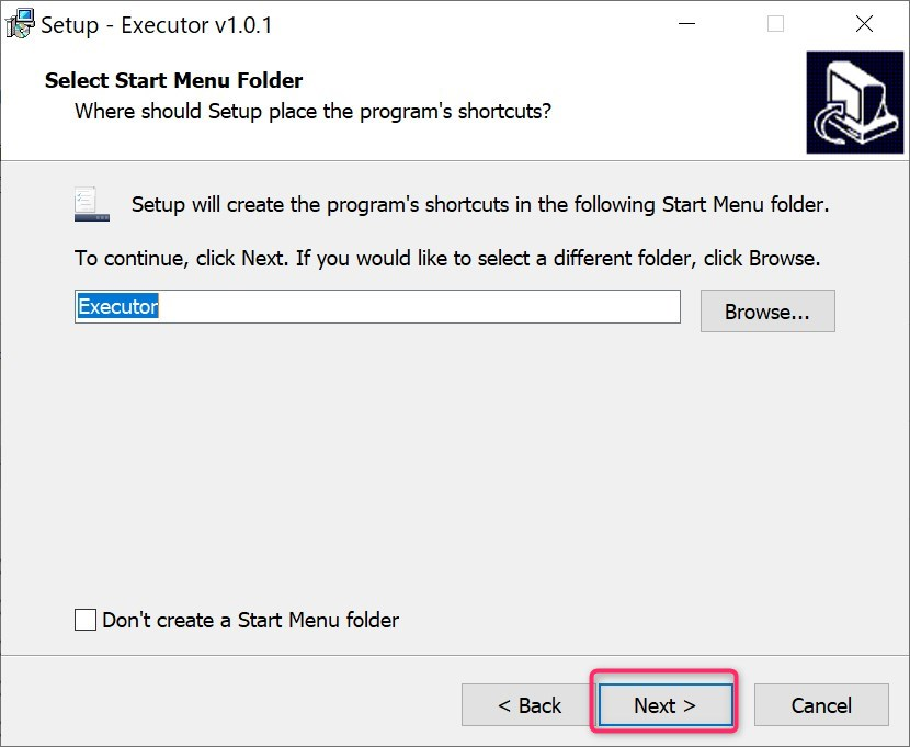 select start menu folder in executor install